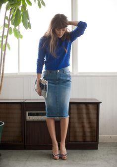 春夏☆働く女子のデニムタイトスカート好感ファッションコーデ|マシマロ
