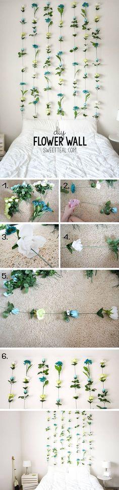 Natural and Bohemian DIY Flower Wall