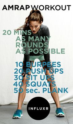 20 minute AMRAP (As Many Rounds As Possible in 20 minutes) Workout - added 50 jumping jacks for cardio and did the plank for 60 seconds. Fitness Workouts, Fun Workouts, At Home Workouts, Cross Fit Workouts, Workout Routines, Amrap Workout, Workout Challenge, Sit Up Workout, Saturday Workout