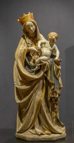 Beautiful Madonna from Wroclaw - made either there or in Bohemia at the end of the century. Blessed Mother Mary, Blessed Virgin Mary, Catholic Art, Religious Art, Images Of Mary, Queen Of Heaven, Holy Mary, Mystique, Madonna And Child