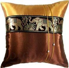 $16 - SILK DECORATIVE THROW ACCENT SILK PILLOWCASE THAI ELEPHANT 16x16 CUSHION COVER#Yellow Gold / Brown