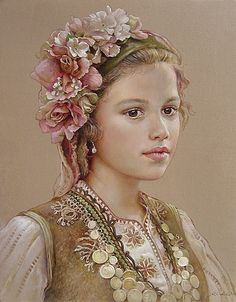 """""""Innocence"""" - 2011 by Maria Ilieva the natural beauty of Bulgarian women Mural Painting, Artist Painting, Illustrations, Illustration Art, Foto Art, Russian Art, Beautiful Paintings, Female Art, Female Portrait"""