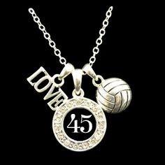 Custom Number 3 Charm Volleyball Necklace - Charming Collectables