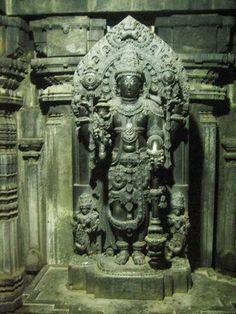 "Original Janardhana Idol at Chennakeshava Temple, Somanathapura, India  Photo Courtesy: Ajay Rama Kumaraswamy   The Chennakesava Temple located at Somanathapura is one of the finest examples of Hoysala architecture. The temple was built by Soma, a Dandanayaka (lit, ""commander"") in 1268 C.E. under Hoysala king Narasimha III,"
