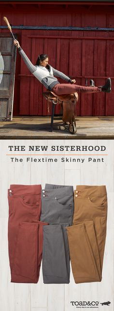 The ultimate go-anywhere, do-anything, fit any body pant. The Flextime Skinny Pant is stretchy but never baggy, and sculpts your curves (thanks to a sneaky elastic waist in the back). Shop the Flextime now.
