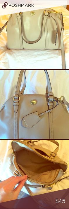 Beige Coach bag! Used coach bag! Love this bag. Great for any season and matches any outfit. Some pen marks inside the bag. Gold accents on bag. Comes with long body strap. Coach Bags Shoulder Bags