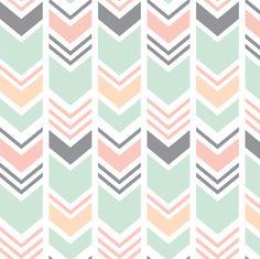 Chevron // Pink/Peach/Mint/Grey by littlearrowdesign
