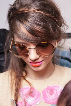 Cute braided hairstyle for long to medium length hair. Love her sunglasses