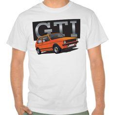 Volkswagen Golf GTI MK1 orange  #volkswagen #golf #rabbit #volkswagengolf #golfgti #gti #tshirt #automobile #mk1 #zazzle #vdub
