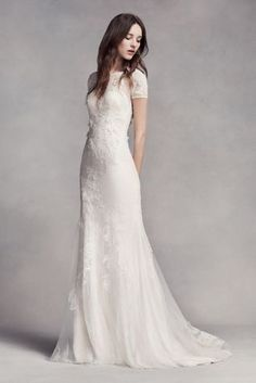 Lace wedding dress. Brides imagine having the ideal wedding ceremony, but for this they require the perfect wedding gown, with the bridesmaid's outfits actually complimenting the brides dress. The following are a variety of suggestions on wedding dresses.
