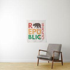 Republic of California | Grunge Design Tapestry - typography gifts unique custom diy