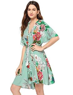 Boho Button Up Split Floral Print Flowy Party Dress for women, Multicolor-green . - - Boho Button Up Split Floral Print Flowy Party Dress for women, Multicolor-green / Large Source by jwearsfashion Women's Dresses, Plus Size Maxi Dresses, Women's Fashion Dresses, Pretty Dresses, Short Sleeve Dresses, Dress Outfits, Formal Dresses, Hipster Fashion Style, Tomboy Fashion