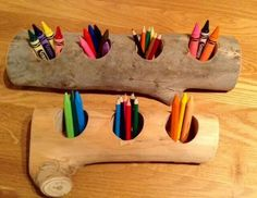 Using logs as pencil holders
