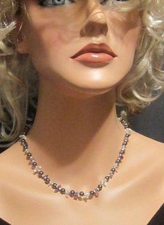 Vintage Hematite Necklace With Crystals by EyecatchersBoutique