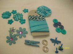 Blue Embellishment Kit by StudioPaper2013 on Etsy, $2.95