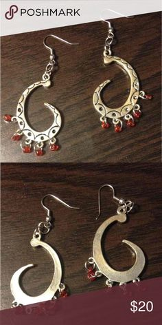99024da21 Beautiful Silver with Red Bead Earrings Real Silver; not branded or  hallmarked Over 2.5
