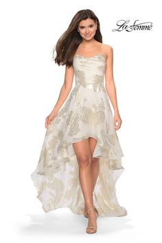 550f494cb7dc0 Check out the deal on La Femme 27753 Ivory Gold Metallic High Low Prom Dress  at