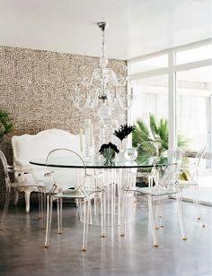 Romantic, mid-century modern dining area via desire to inspire.