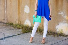 turquoise clutch & nude wedges // LipglossandLabels.com