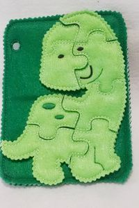 Dinosaur quiet book puzzle with template carry case