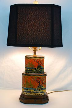 Chinoiserie English Tea Caddy Lamp