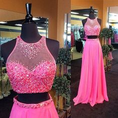 2016 Custom Charming Hot Pink Chiffon Prom Dress, Two Pieces Evening Dress,See…