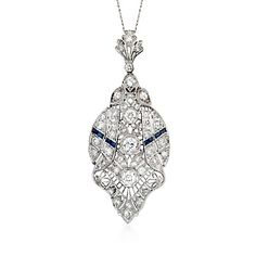 """C. 1935 Vintage 3.00 ct. t.w. Diamond and Faux Sapphire Filigree Necklace in Platinum. 18"""""""