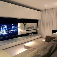 Living Room Modern, Home Living Room, Living Room Furniture, Living Room Decor, Living Room Tv Unit Designs, Living Room Wall Units, Home Theater Rooms, Home Interior Design, House Design