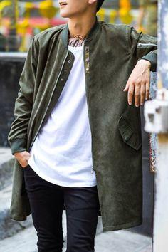 Stand Collar Zipper Buttons Embellished Long Sleeve Suede Lengthen Jacket For Men