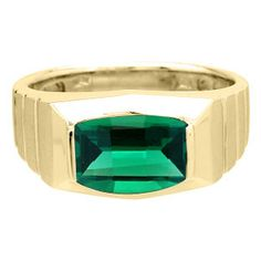Barrel-Cut Emerald Stone Ring For Men In Yellow Gold Available Exclusively at Gemologica.com