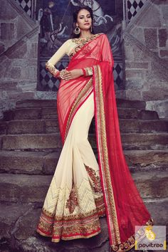 Revamp your wardrobe and get classier outfits like this red cream georgette designer wedding saree online in India with discount sale offer. Buy online sarees collection for wedding wear by wholesale manufacturer Viva N Diva Couture from pavitraa fashion store. #saree, #designersaree, #weddingwearsaree, #partywearsaree, #Indianbridalsaree, #sareeonline, #sareewithblouse More : http://www.pavitraa.in/store/diwali-special-collection/ Call / WhatsApp : +91-76982-34040  E-mail: info@pavitraa.in
