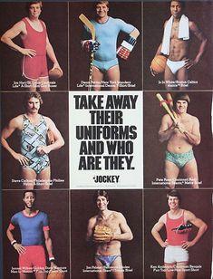 1977 VINTAGE JOCKEY SPORT UNIFORM SWIMSUIT & UNDERWEAR MEN'S CLOTHING AD