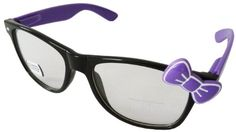 Sanrio Hello Kitty Designer Inspired Wayfarer Perscription Glasses Frame with Bow - Black/Purple with Purple Bow