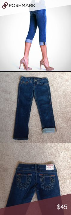 """True religion dark blue capris jeans In excellent condition. Probably worn just once. Inseam is 24"""" long...                                                j True Religion Jeans"""