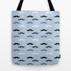 Cool Blue Mustaches Tote Bag by Zen and Chic - $22.00