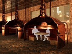 In the bar, guests can sit inside antique brew copper kettles