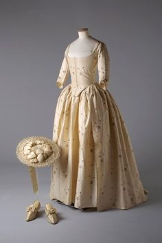 Eighteenth century wedding ensemble worn by Miss Jane Bailey on the day of her marriage to James Wickham, 1780.