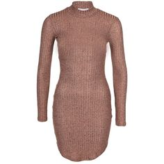 Nly Trend Off Duty Luxury Dress ($35) ❤ liked on Polyvore featuring dresses, form fitting dresses, long sleeve turtle neck dress, mock turtleneck dress, long sleeve dress and long sleeve jersey dress