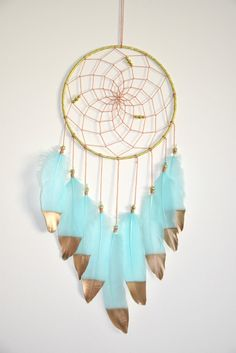 Large Dream Catcher Aqua Gold Dream Catcher Bohemian Wall