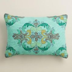 Create a boho-chic look inside or out with our lumbar pillow crafted of eco-conscious recycled plastic bottles. Its soft multicolored background features chevron patterns in captivating cool tones.