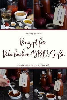 Food Pairing - Rezept für eine Rhabarber-BBQ-Soße mit Rhabarbernektar, einfach lecker und natürlich mit Saft. Verband für deutsche Fruchtsaft-Industrie Ketchup, Bbq, Food, Gratin, Kitchens, Rhubarb Recipes, Fruit Juice, Outdoor Food, Sherry Vinegar