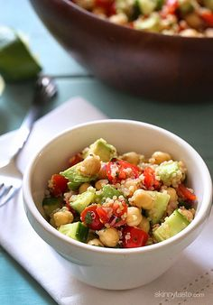 Quinoa Chickpea and Avocado Salad - This quick and easy salad is loaded with protein, fiber and healthy fats!
