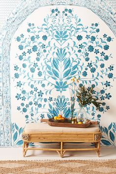 Karina Mural by Anthropologie in Blue, Wall Decor Of Wallpaper, Designer Wallpaper, Wallpaper Designs, Chinoiserie Wallpaper, Wallpaper Ideas, Mural Floral, Vines, Wallpaper Manufacturers, Cosy Home
