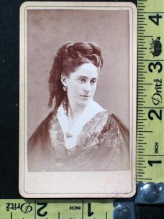 Antique CDV Photo of Lovely Woman with Curls, Brooch & Earrings, St. Louis MO