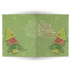 Green Grunge Geometric Christmas Tree Holiday Greeting Card