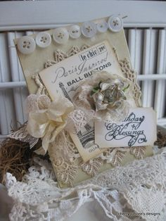 shabby chic vintage crochet doily laces french paris button card BIRTHDAY BLESSINGS handmade card