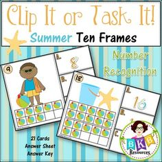 Ten Frame Number Recognition Clip Cards or Task Cards!Summer Ten Frame Clip It or Task It Number Recognition CardsThis summer themed ten frame number recognition Clip It or Task It card set makes for an engaging math center activity.Use this set as clip cards and your students will practice matching the correct number with the ten frame image on the cards and enhance their fine motor skills at the same time.