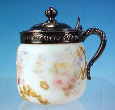 Antique Victorian CROWN MILANO Mt. Washington Art Glass Mustard Pot Jar Satin Opal