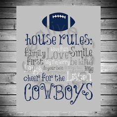 Dallas Cowboys House Rules  8x10 INSTANT by CreativeCardstock