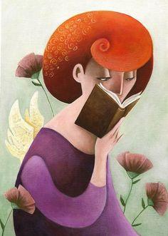 Angel reader / Ángel lector (ilustración de Rosaria Battiloro)
